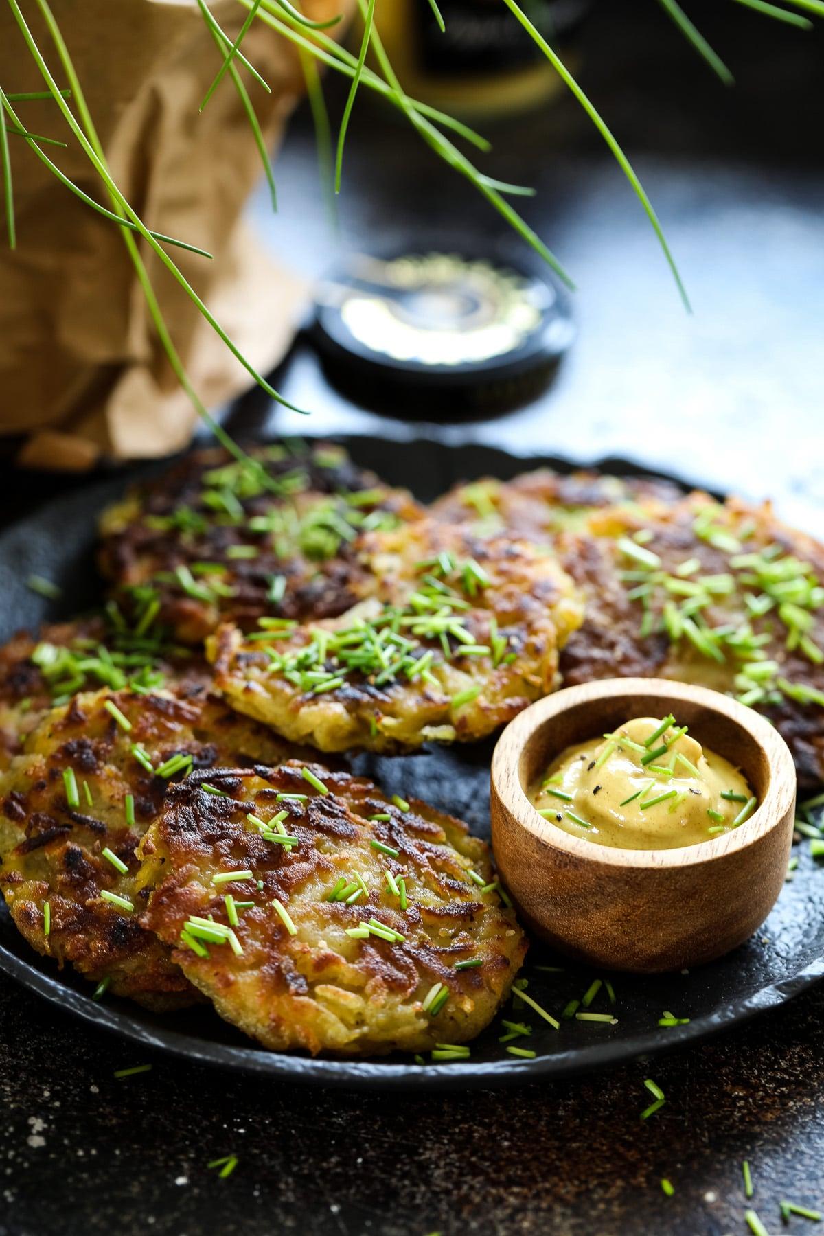 Vegan Potato Pancakes Served with Mustard.