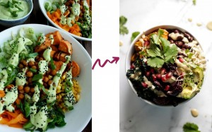 Buddha Bowl before and after styling.