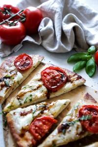 Margherita flatbread pizza cut in slices