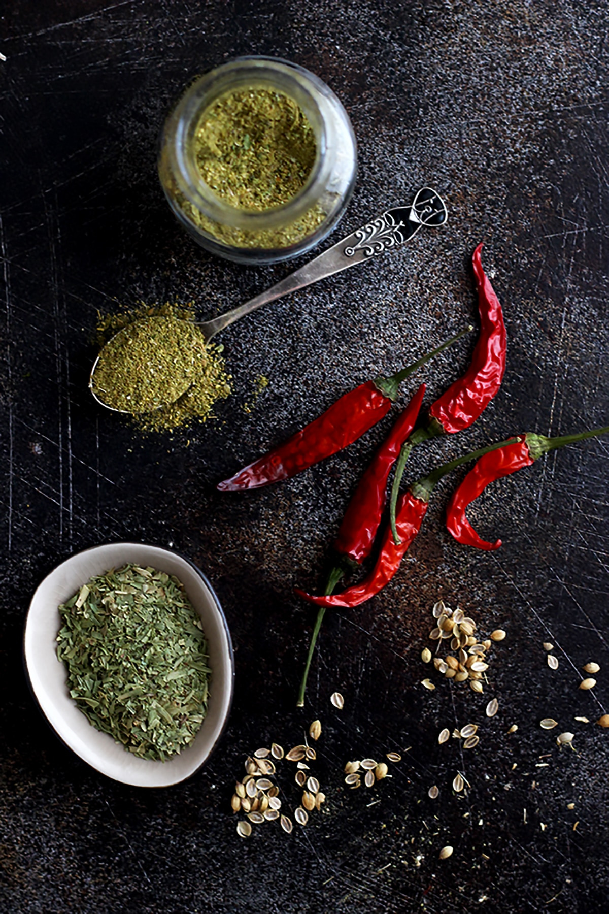 Georgian Spices and Chili Peppers Flatlay.